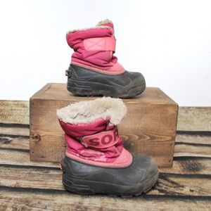🎀3/$30 Girls Pink Grey Sorel Winter Boots Size 9